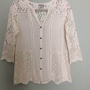 Off white lace Lucky Brand top